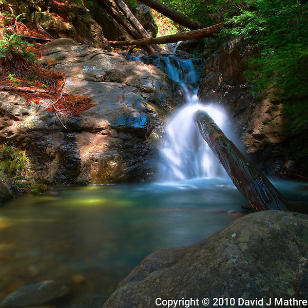 Redwood Gulch Waterfall, HDR Exercise. Image(s) taken with a Nikon D3x and 24 mm f/3.5 PC-E lens Singh-Ray filters (ISO 100, 24 mm, f/16, 2.5 to 30 sec). Raw image processed with Capture One Pro, HDR Express: Natural. (David J Mathre)