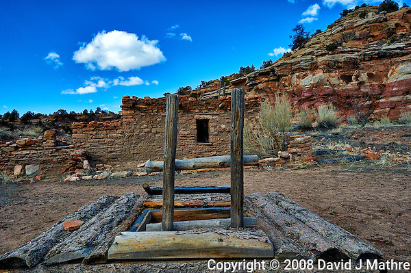 Wood ladder to the underground Kiva at Kelley's Place near Cortez, Colorado. Image taken with a Nikon D3 camera and 14-24 mm f/2.8 lens (ISO 200, 24 mm, f/11, 1/400 sec). (David J Mathre)