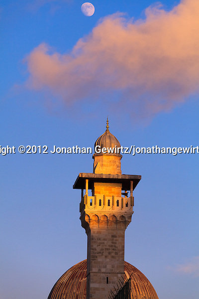 The Moon rises over the minaret and dome of the Al Aqsa mosque on the Temple Mount in Jerusalem. (© 2012 Jonathan Gewirtz / jonathan@gewirtz.net)