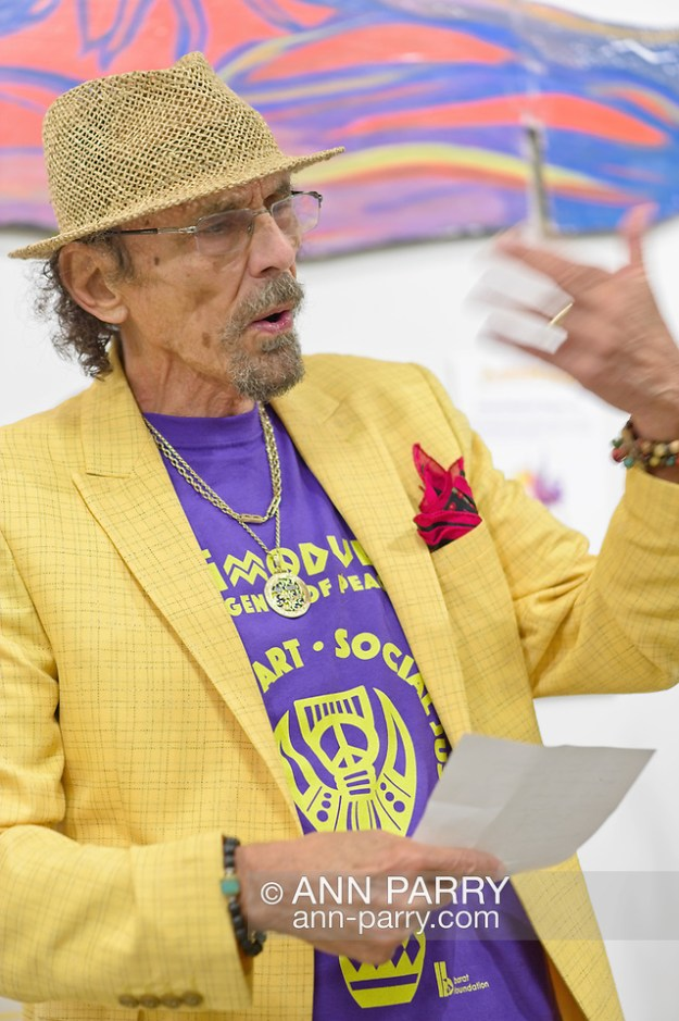 Roslyn, New York, U.S. September 13, 2019. GARY BARAT speaks at ANIMODULES Agents of Peace exhibit Farewell Reception and Founders' talk by Gary Barat and Chandri Barat, at the Nassau County Museum of Art's Manes Art & Education Center, named for Dr. HARVEY MANES, who was in attendance and spearheaded the exhibit. (Ann Parry/Ann Parry, ann-parry.com)