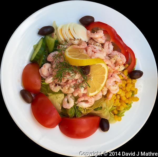 Shrimp Salad Lunch in Stockholm. Image taken with a Fuji X-T1 camera and 27 mm f/2.8 lens. (David J Mathre)