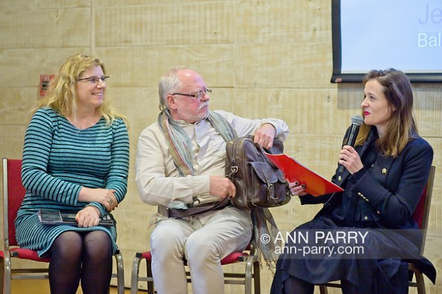 Old Westbury, New York, U.S. October 19, 2019. L-R, JOANNA RAPICKA, the Foreign Relations Director of Art&Balance Foundation in Poland; and sculptor JERZY KĘDZIORA; listen to ISABELA GOLA ask Kedziora questions during Panel Discussion of the Closing Reception for Kędziora's Balance in Nature outdoor sculptures exhibit held at Old Westbury Gardens. Gola was born in Poland, and is the Curator of Visual Art & Design Programming at the Polish Cultural Institute NY, in the field of public diplomacy. (© 2019 Ann Parry/Ann-Parry.com)