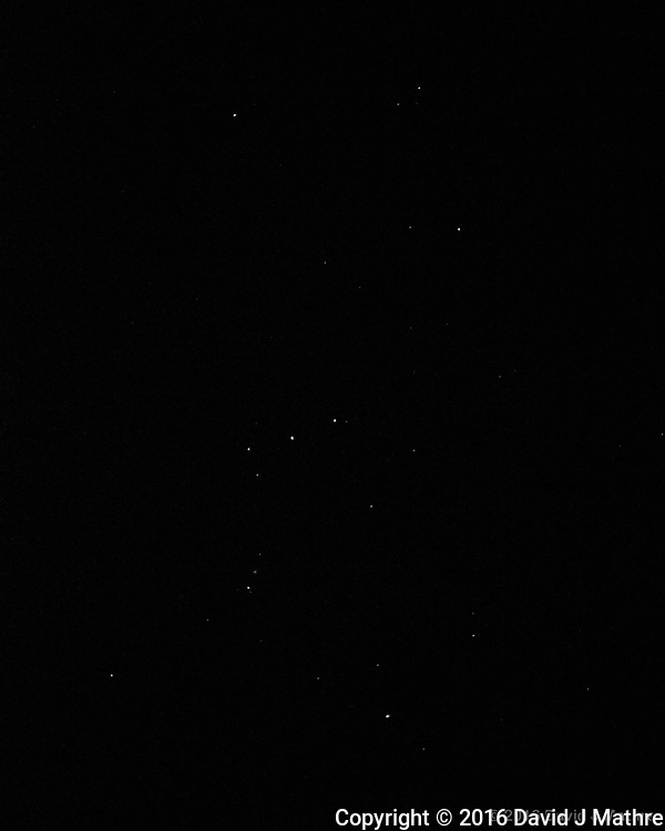 The constellation Orion in the night sky from the aft deck of the MV World Odyssey. Image taken with a Fuji X-T1 camera and 35 mm f/1.4 lens (ISO 6400, 35 mm, f/16, 1/60 sec). (David J Mathre)