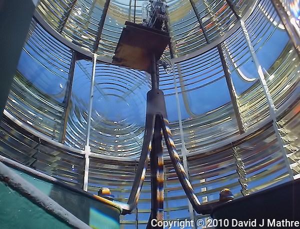 Amelia Island Lighthouse Light and Fresnel Lens. Image taken with a Polariod PDC700 digital camera. (David J Mathre)