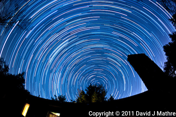 North View Star Trails. Summer Night in New Jersey. Image taken with a Nikon D3 and 16 mm f/2.8 mm Fisheye lens (ISO 400, 16 mm, f/4, 59 sec). Composite of 125 images combined using the Startrails program. (David J Mathre)