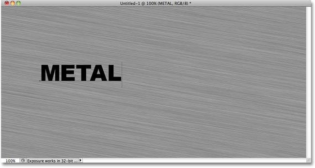 Adding text to the Photoshop document. Image © 2010 Photoshop Essentials.com.