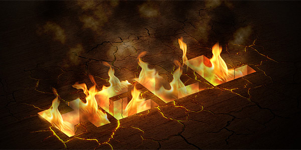 Hell on flames text effect