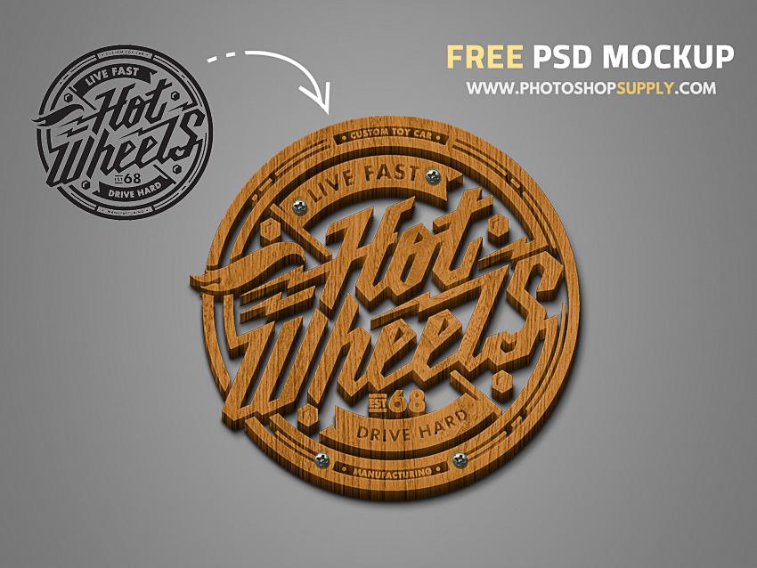 3D Wooden Logo Free Mockup