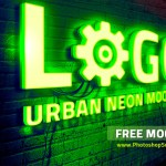 Neon Logo Mockup Free PSD