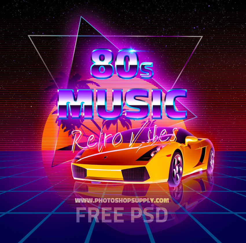 80s Background with Retro Text PSD Free