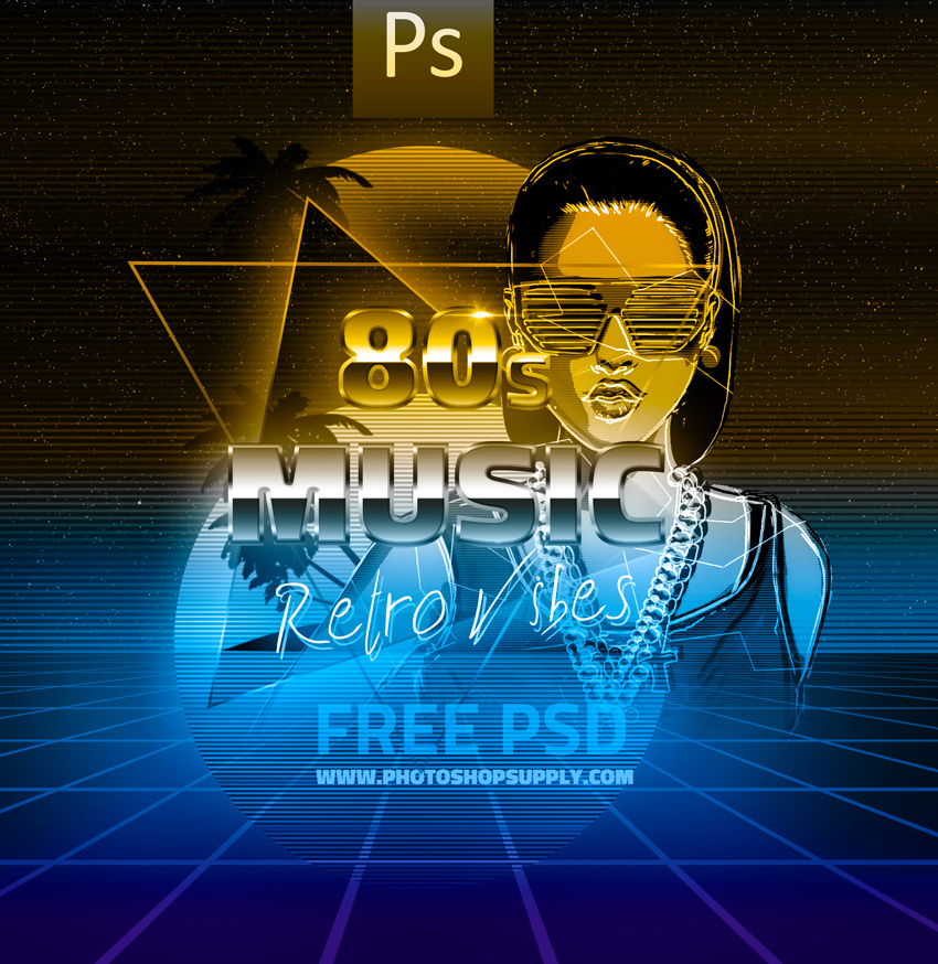 FREE) 80s Retro | Background & Text Effect - Photoshop Supply