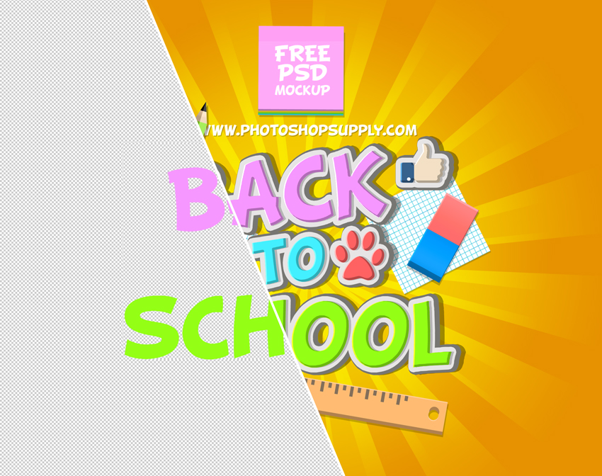 back to school PSD mockup free