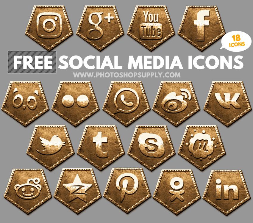 Free Social Media Icons 2018 Bronze