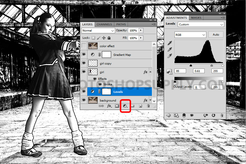 levels adjustment in Photoshop