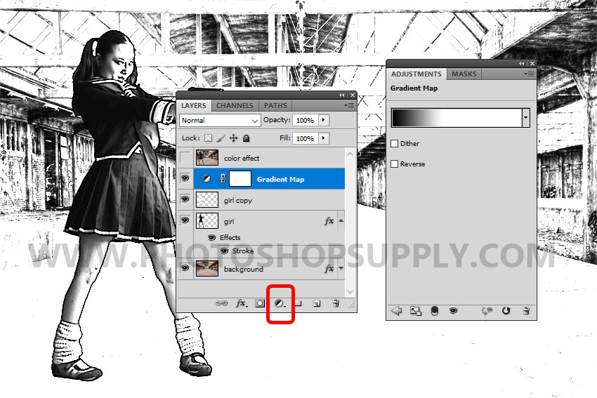 black and white gradient map in photoshop