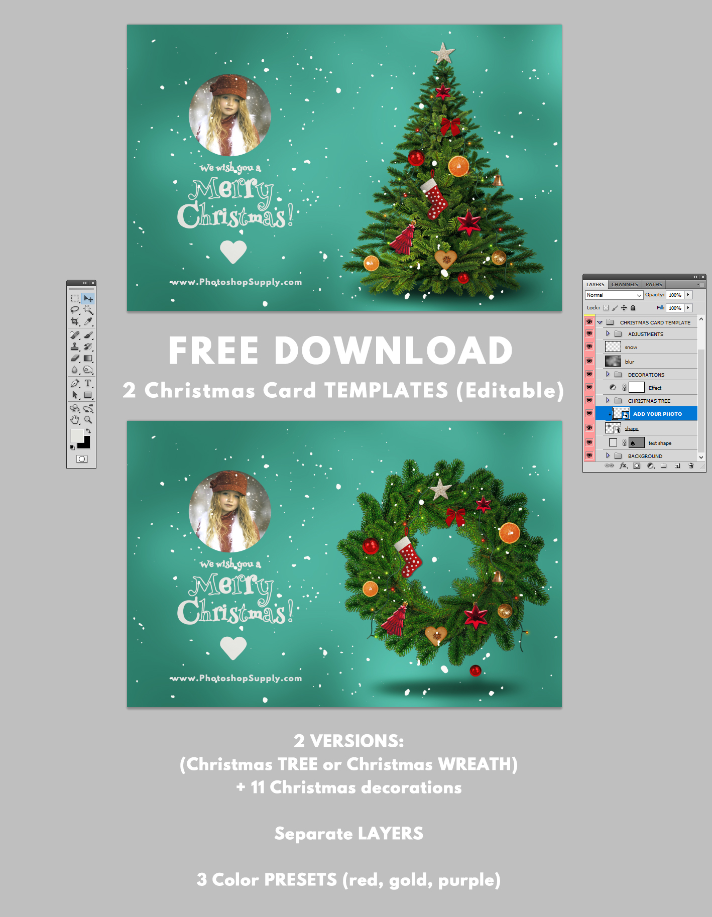 Christmas Card Templates For Photoshop Photoshop Supply