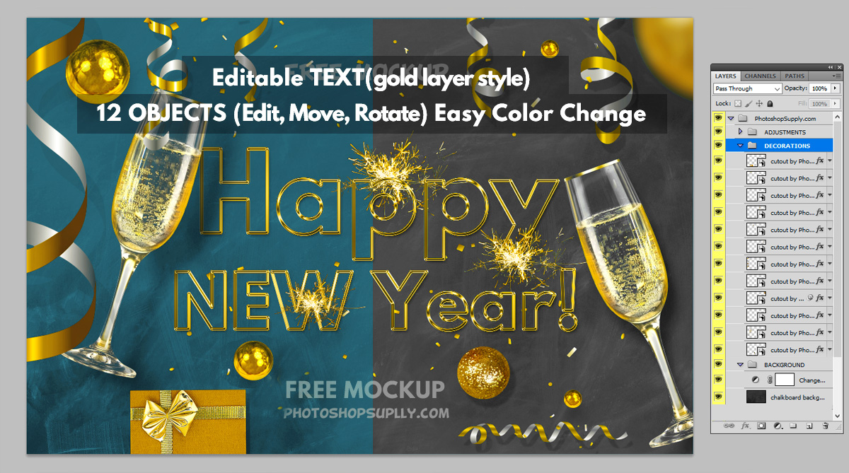 New Year Poster Free Photoshop Mockup