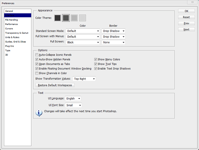 Changing Color Themes in the Preferences