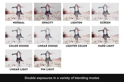Create double exposures in a variety of blending modes