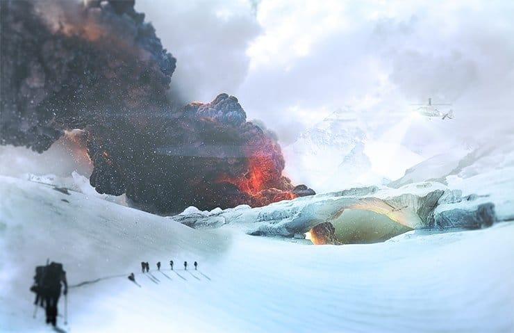 Tạo  Cinematic Snowy Cảnh Núi tuyết sụp đổ trong Photoshop
