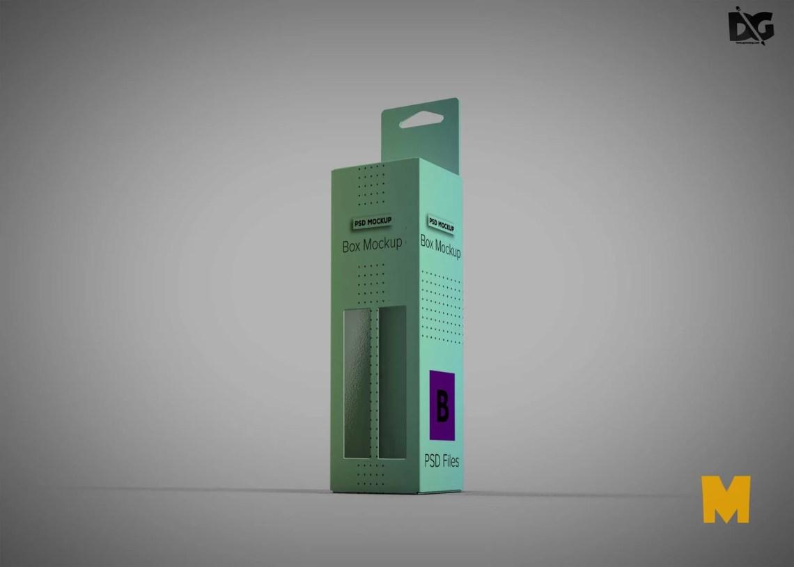 Download Free PSD Long Box Packaging Design Mockup