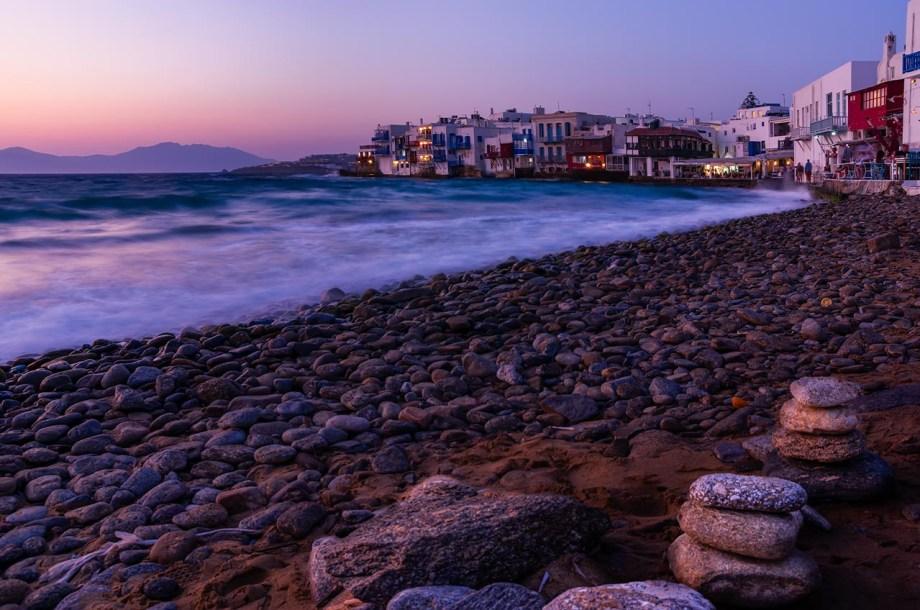 Mykonos bella senz' anima Tramonto dalla spiaggia su Little Venice, Mykonos