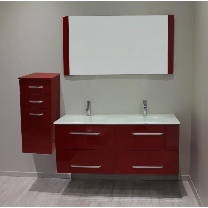 Meuble salle de bain rouge