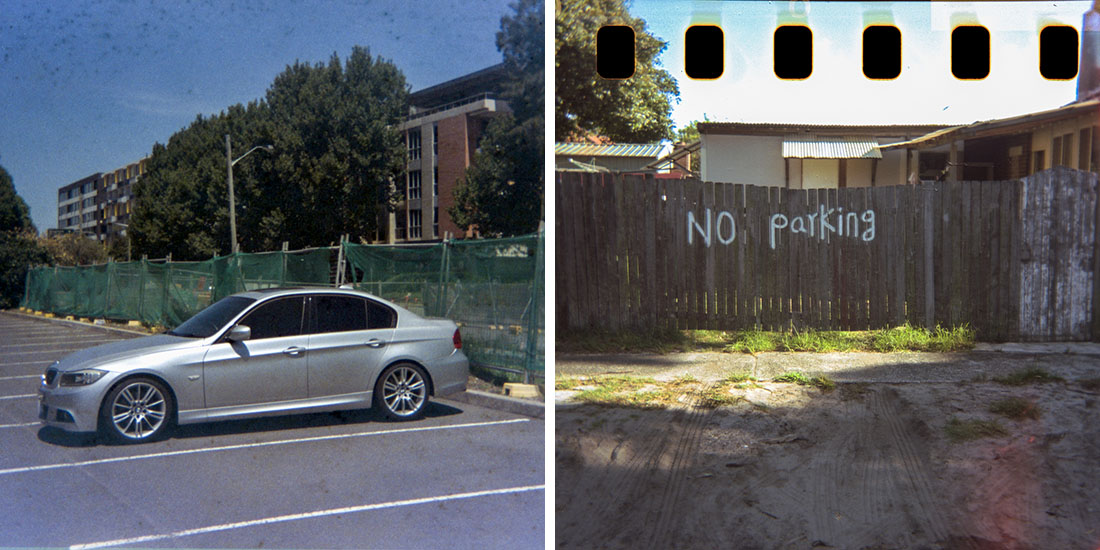 Left: My chariot, Fujicolor Super HGII 100 (expired 1995), Right: No Parking, Kodak Portra 160; Both taken with a Kodak Instamatic 133