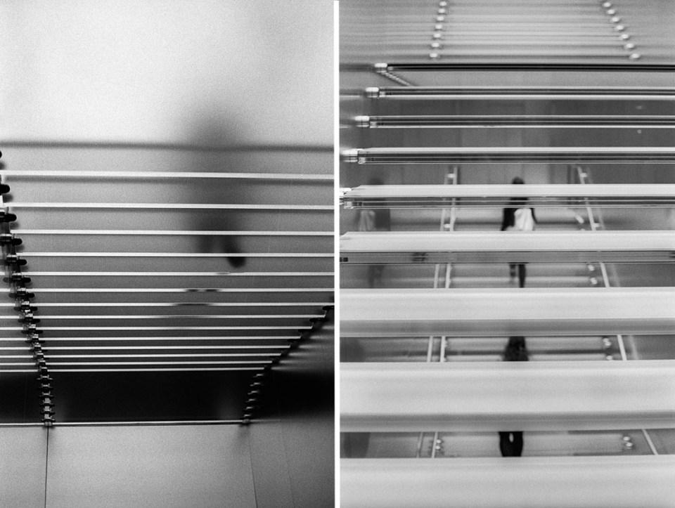 Apple stairs, Nikon F2, Nikkor-H 50mm f/2 Auto, Kentmere 400