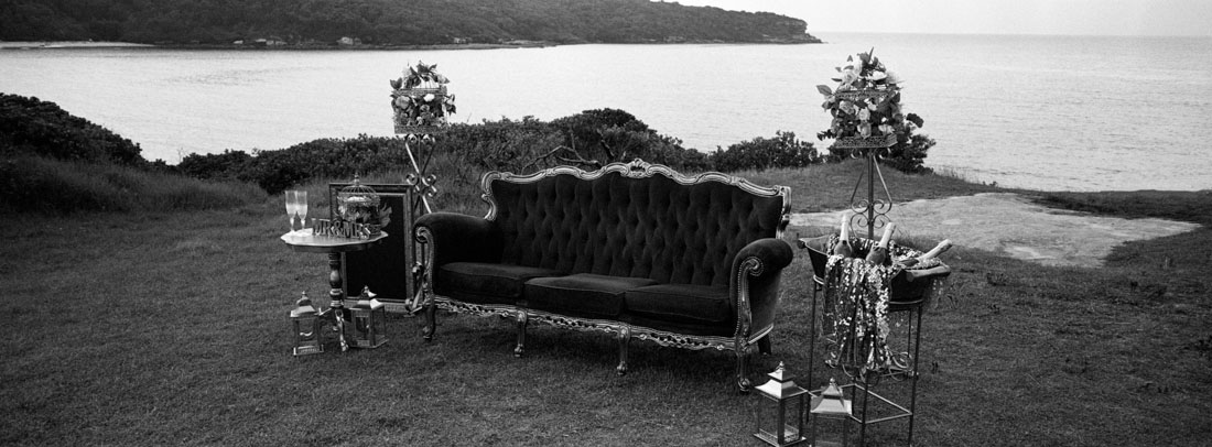 Random wedding couch | Hasselblad XPan, 45mm | Kodak Tri-X 400
