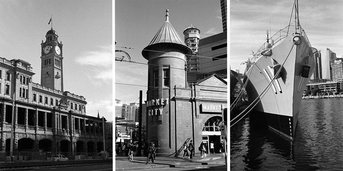 L-R: Central Station, Market City, Navy Ship | Prakti | Kodak Tri-X 400