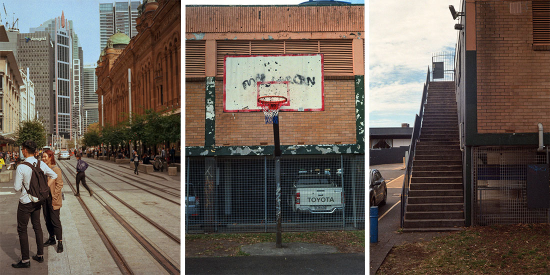 L-R: Sydney Street, Basketball Hoop, Stairs | Prakti | Kodak Ultramax 400