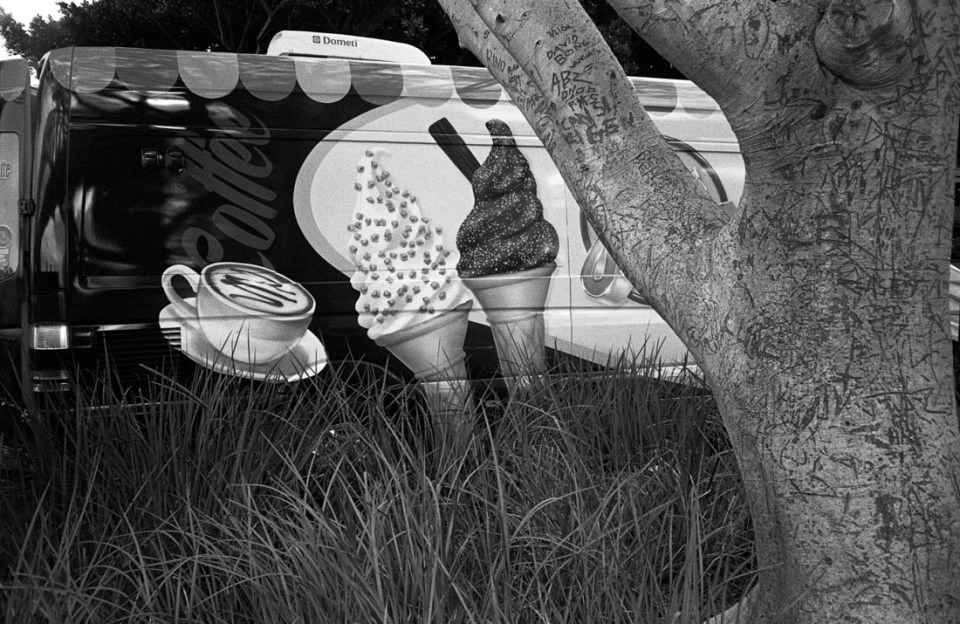 Hidden ice cream van | Nikon L35AF | Kodak Tri-X 400