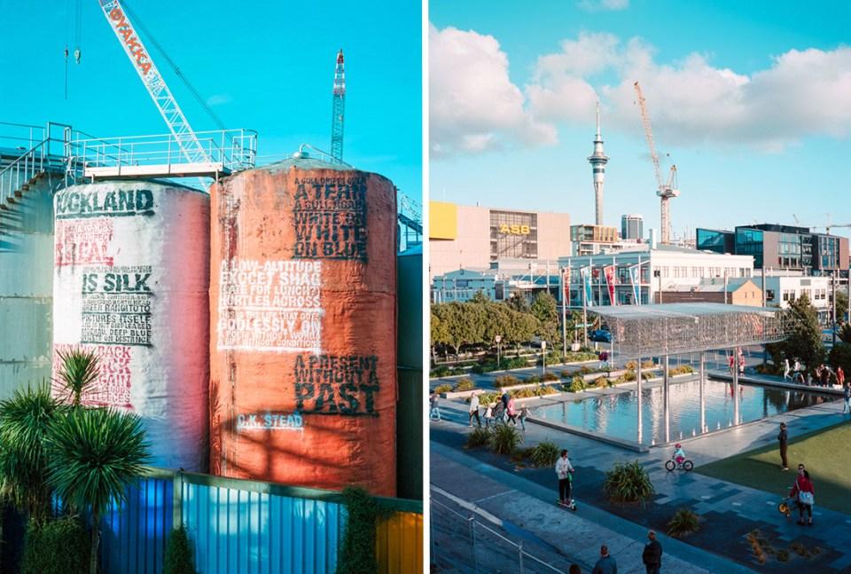 Painted silos (r) and skyline (l)| Fuji GS645S | Kodak Portra 400