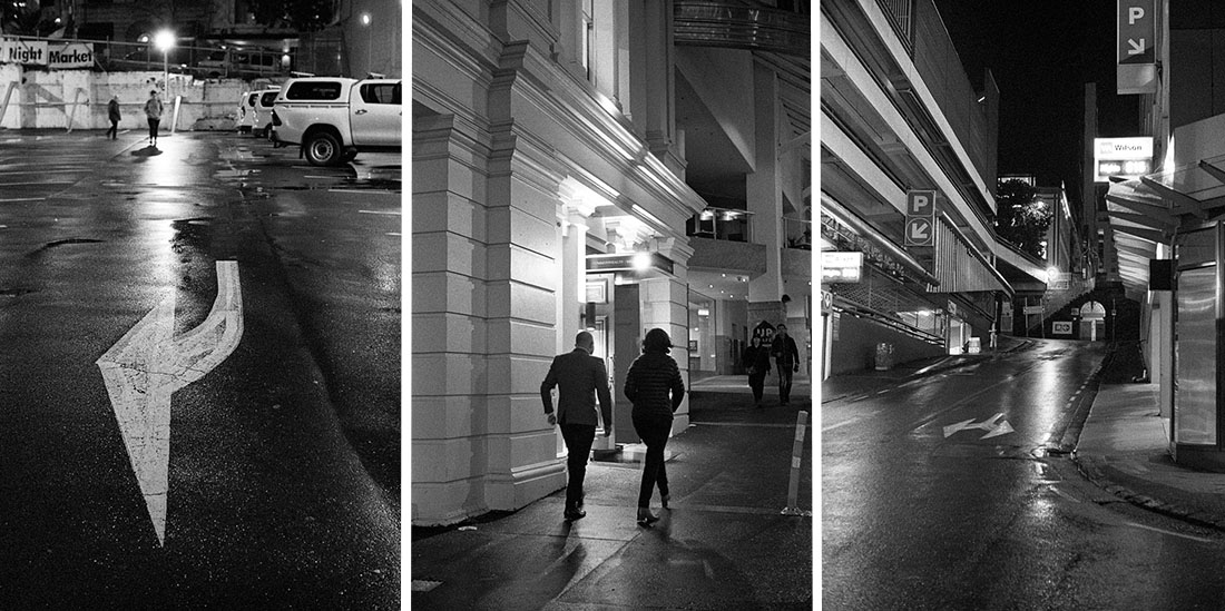 L-R Arrow, Night Out and Street | Leica M2 | Canon 50mm f/1.8 LTM | Kodak T-Max P3200