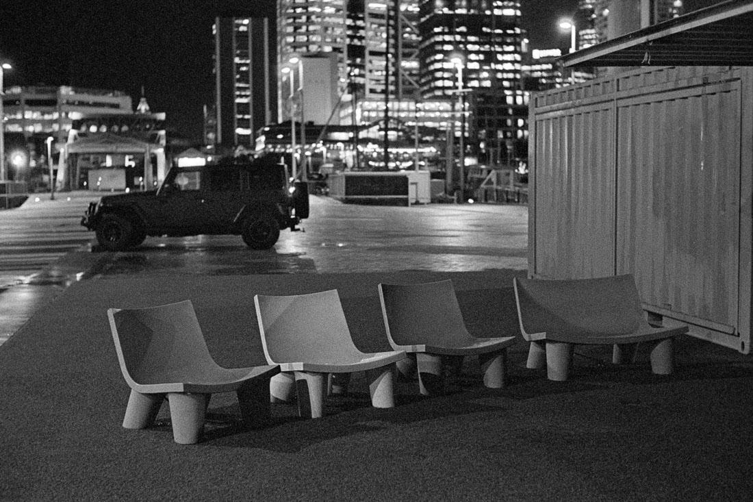 Chairs at night   Leica M2   Canon 50mm f/1.8 LTM   Kodak T-Max P3200