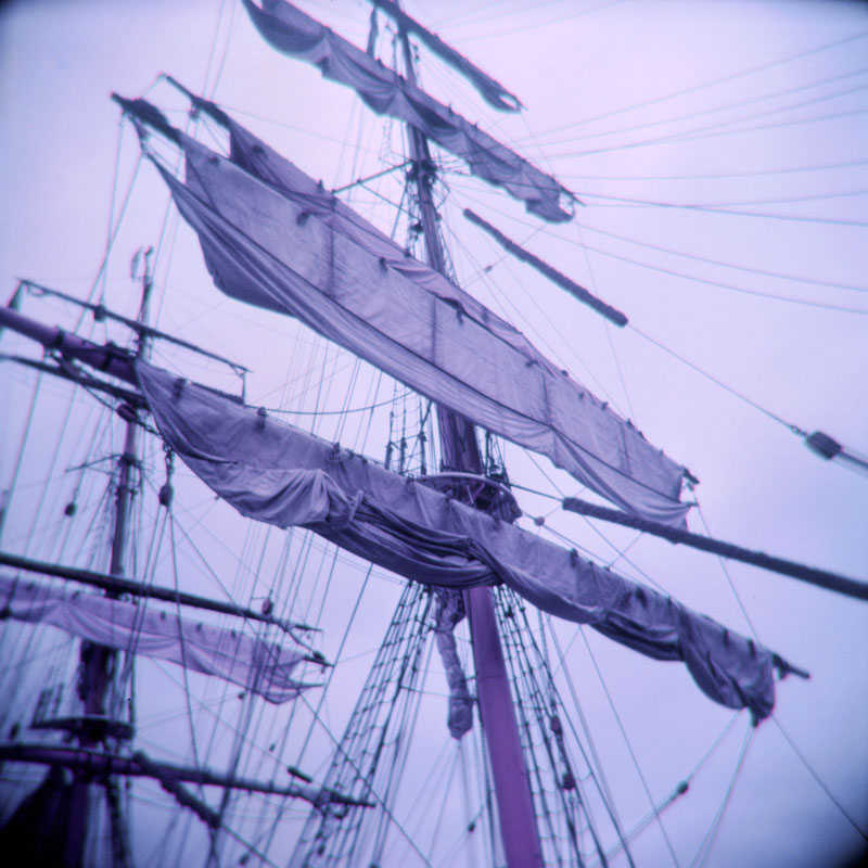 Ship sails | Holga 120N | Lomography Lomochrome Purple