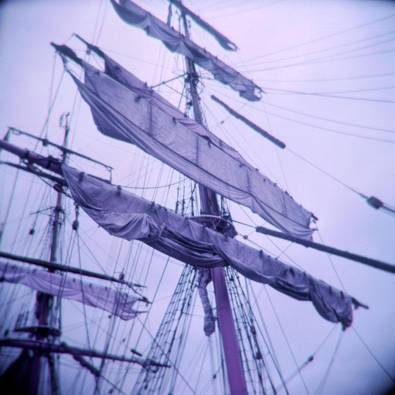 Ship sails | Holga 120N | Lomography Lomochrome Purple