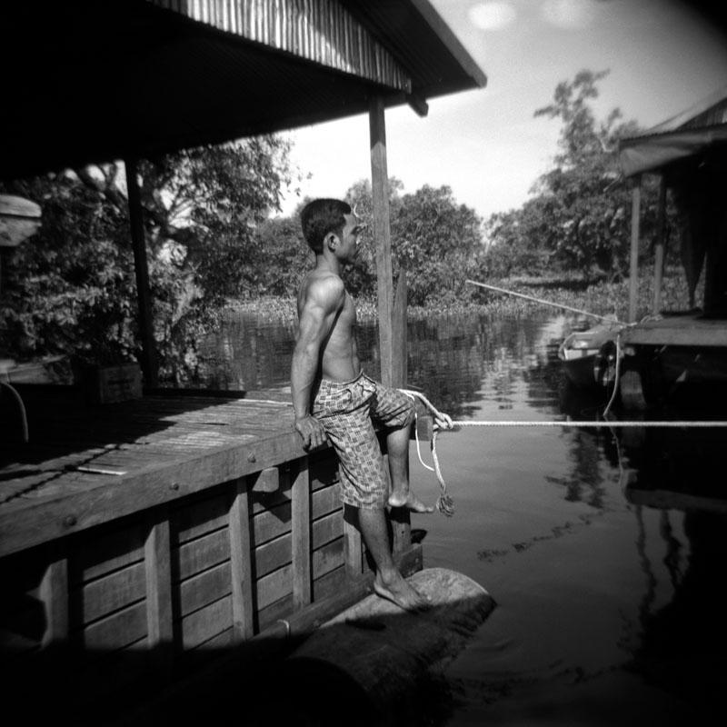 Fisherman at Moat Khla, Cambodia | Holga 120N | Kodak Tri-X 400