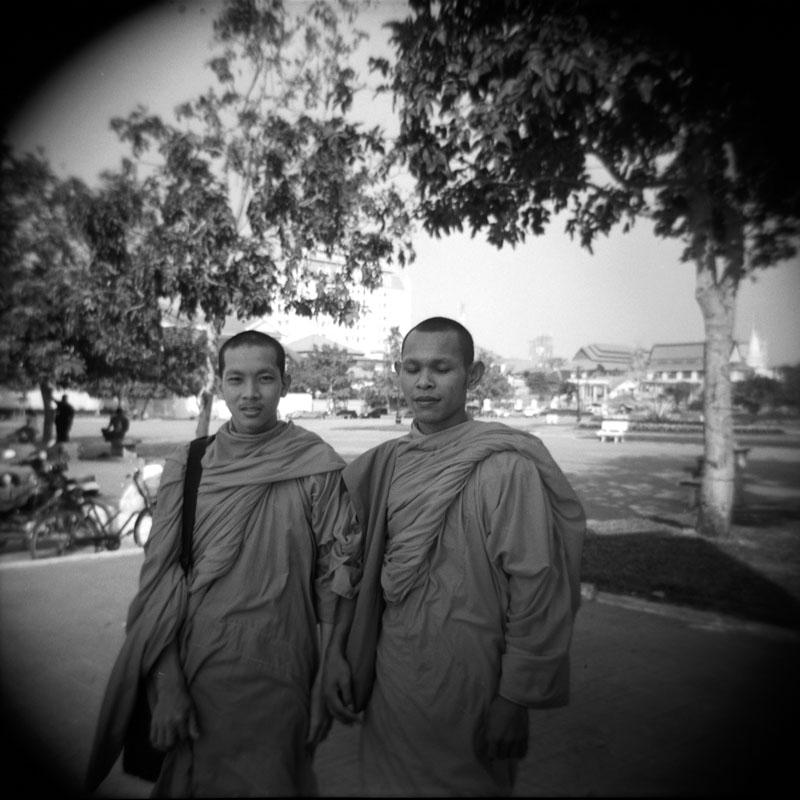 Monks, Phnom Penh, Cambodia | Holga 120N | Kodak Tri-X 400