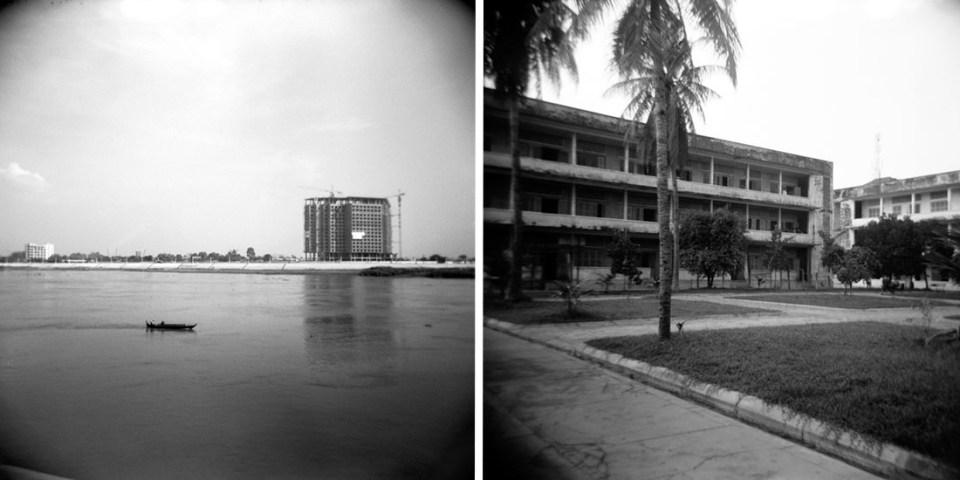 L: Tole Sap River, R: Sleng Genocide Museum (S21 Prison) | Holga 120N | Kodak Tri-X 400