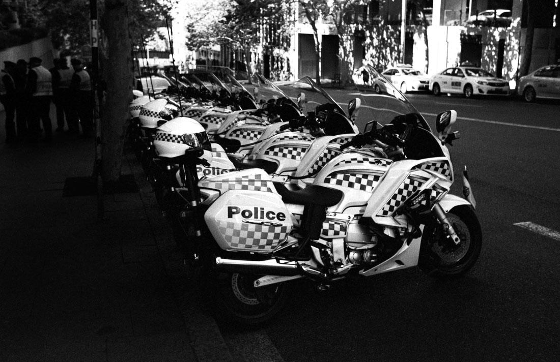Police bike line up | Nikon F3 | Nikkor 35mm f/2.8 Ai | JCH Street Pan 400 @ EI 800