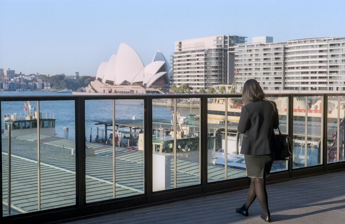 Gazing at the Opera House | Leica M3 | Leitz Summicron 5cm f/2 DR | Fujifilm Pro400H