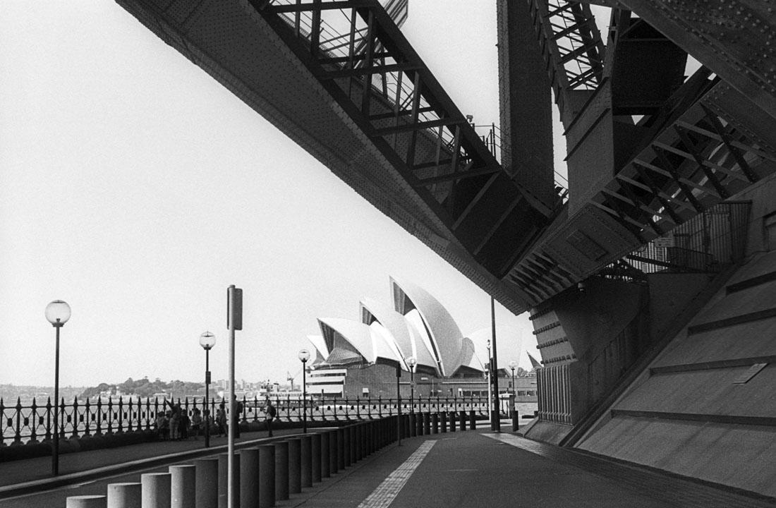 Opera House from under the Bridge | Leica M3 | Leitz Summicron 5cm f/2 DR | Ilford HP5 Plus