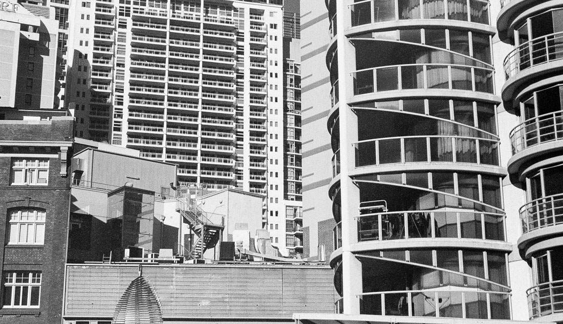 High rise buildings | Canon Elph 2 | Kodak Advantix 200 (converted to B&W due to expired film colour shifts)