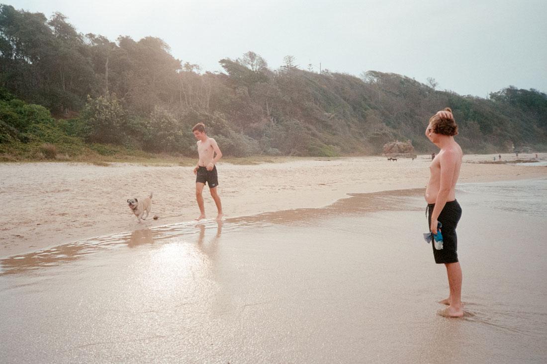 Oscar and the boys at the beach   Canon Sure Shot A1   Kodak Ultramax 400