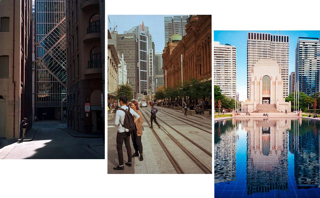 (1) Lone in alley   Canon Sure Shot 70 Zoom, (2) George Street   KameraWerkstatten Prakt,i (3) Sydney War Memorial   Nikon L35AF – All on Kodak Ultramax 400