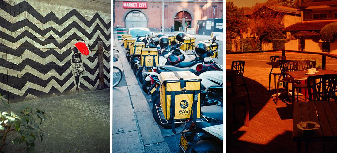(1) Red Umbrella   Belomo Agat 18K, (2) Food delivery   Nikon L35AF, (3) Café (rescaled)  Zorki 4   Industar 61 53mm 1:2.8, - All taken with Kodak Ultramax 400