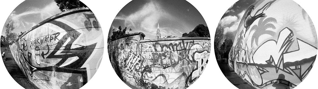 Graffiti | Lomography Fisheye 2 | Ilford HP5 Plus