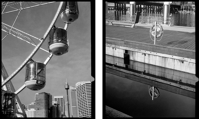 Ferris wheel (l), Life saver (r) | Agfa Optima-Parat | Ilford FP4 Plus